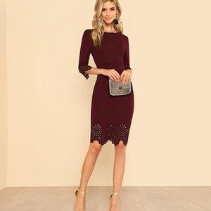 Dresses & Skirts - Restocked! Burgundy Bodycon Dress W/ Laser Cut